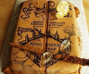 book, cake, and hp image