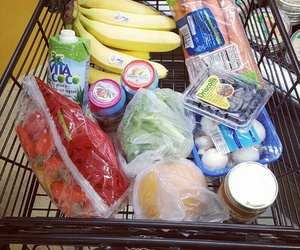 cart, groceries, and kitchen image