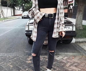 girl, jeans, and look image