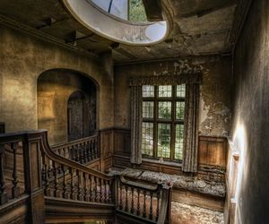 abandoned, stairs, and house image