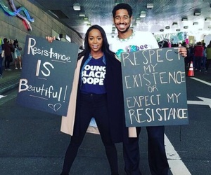 aja naomi king, women's march, and feminism image