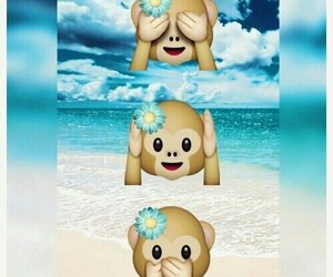 emoji, monkey, and beach image
