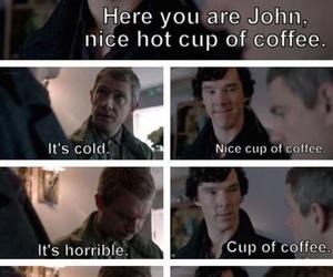 sherlock, funny, and coffee image