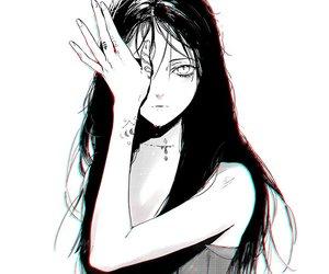 anime, anime girl, and black and white image