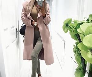 cap, woman girl, and coat image