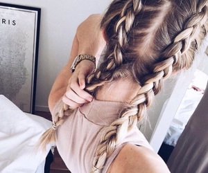 blonde hair, braids, and boho image