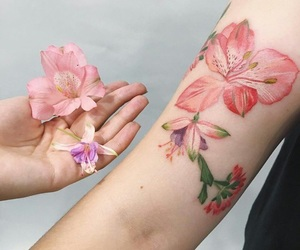 flowers, tattoo, and pink image