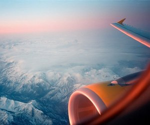 airplane, sunrise, and travel image