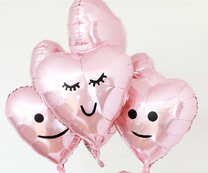 balloons, hearts, and faces image