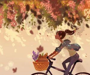 art, bike, and flowers image