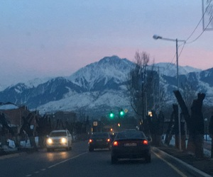 Almaty, mountains, and sunset image