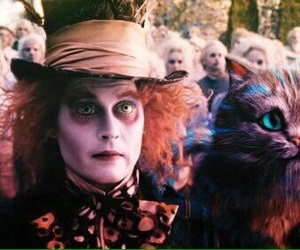 alice in wonderland, johnny depp, and cat image
