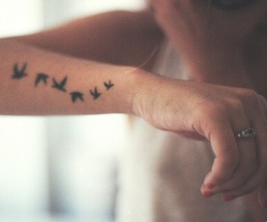 arm, birds, and girl image