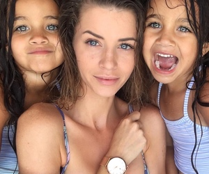 family, beauty, and blue eyes image