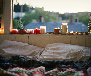 bed, candle, and bedroom image