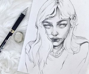 art, sketch, and girl image