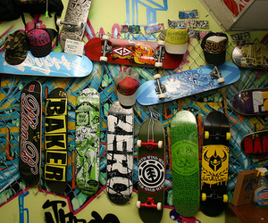 skate, skateboard, and cap image