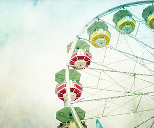 clouds, colorful, and ferris wheel image