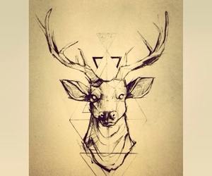 deer, hipster, and tattoo image