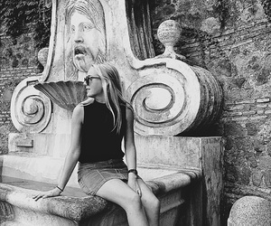 black and white, traveling, and girl image