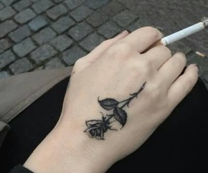 tattoo, rose, and black image
