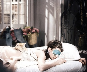 audrey hepburn, Breakfast at Tiffany's, and cat image