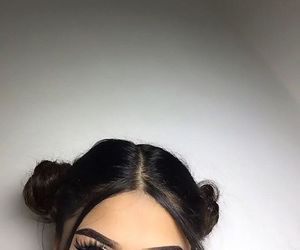 makeup, eyes, and hair image