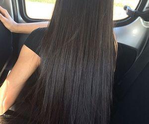 hair, long hair, and black image