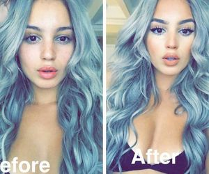 after, before, and blue hair image