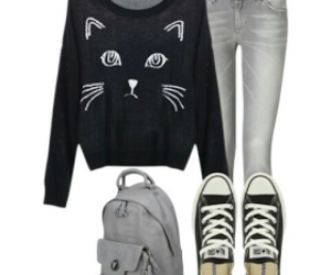 black cat, fashion, and cute image