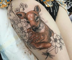 deer, ink, and tattoo image