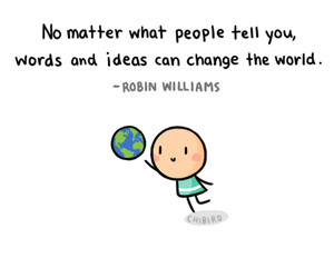 quote, robin williams, and chibird image