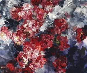 flowers, art, and red image