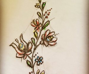 dark, drawing, and flowers image