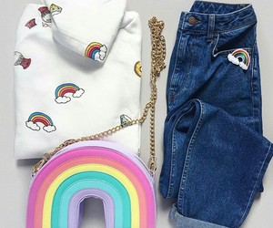 rainbow, forever 21, and jeans image