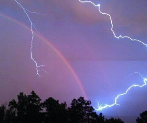 rainbow, sky, and lightning image