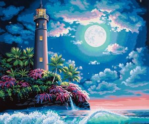 art, moon, and oasis image