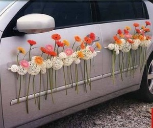 car, decoration, and flowers image