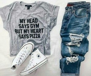 outfit, converse, and denim image