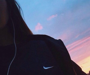 nike, girl, and sunset image