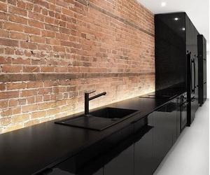 kitchen, black, and brick image