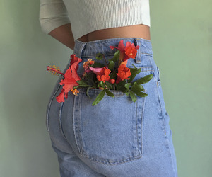 flowers, jeans, and aesthetic image