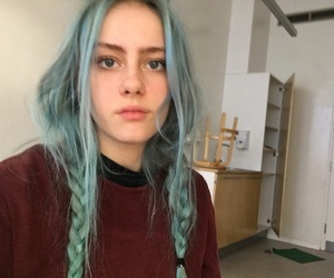 blue eyes, grunge, and blue hair dye image