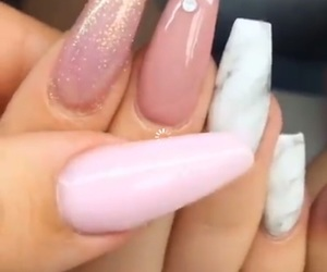 acrylics, pink, and marble nails image