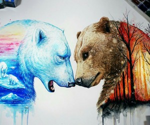 autumn, bear, and winter image