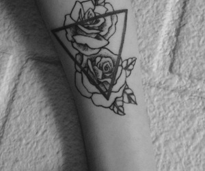 roses, tattoo, and triangle image