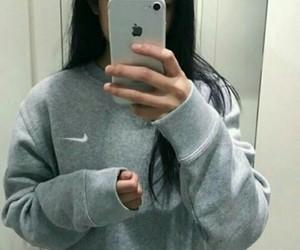 girl, grey, and nike image