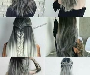 black, grey, and hair image