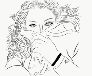 girl, hair, and outline image