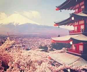 japan, mountains, and sakura image